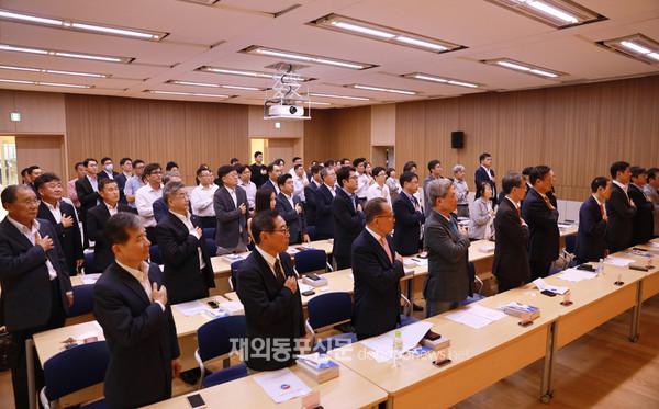 지난 1월 31일 주캄보디아한국대사관 다목적홀에서 열린 한·캄상공회의소 2020년도 14차 정기총회가 열렸다. 이날 총회에는 역대 가장 많은 회원사관계자들이 참석했다. (사진 박정연 재외기자)