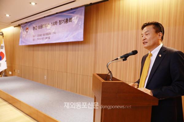 한·캄상공회의소 제8대 회장으로 선출된 이용만 회장이 취임인사를 통해 앞으로의 계획과 포부를 밝히고 있다. (사진 박정연 재외기자)